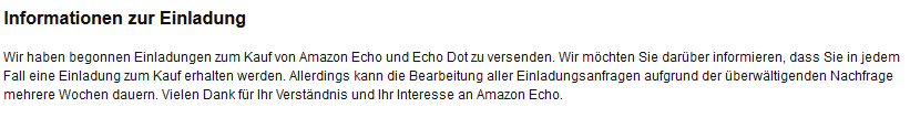 Amazon Echo Einladungsverfahren