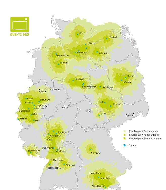 DVB-T2 Regionen in Deutschland