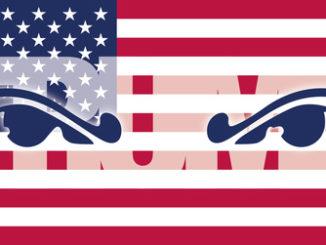 Böse Augen in US-amerikanischer Flagge