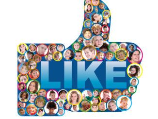 Viele menschliche Profilbilder zusammengebunden zum Facebook-Like