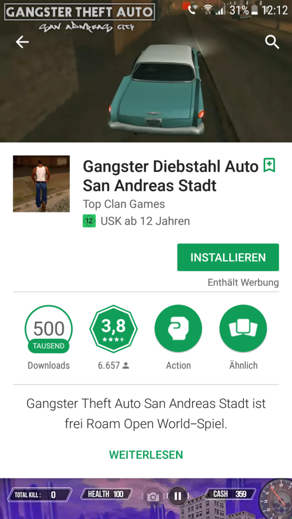 Gangster Diebstahl Auto San Andreas Stadt